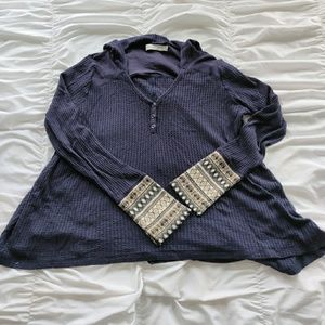 Paper Crane Waffle Knit Sweater Cuff Shirt M